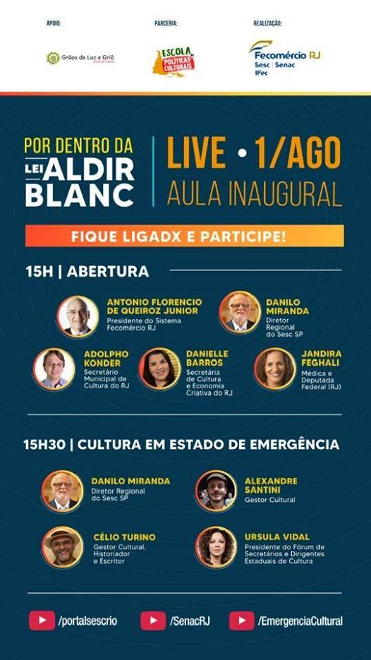 Por dentro da Lei Aldir Blanc tem Live – Aula inaugural, hoje