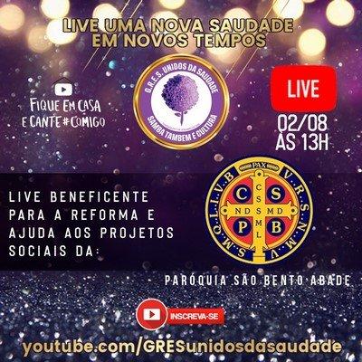 A Escola de Samba Unidos da Saudade faz live solidária amanhã, 2 de agosto